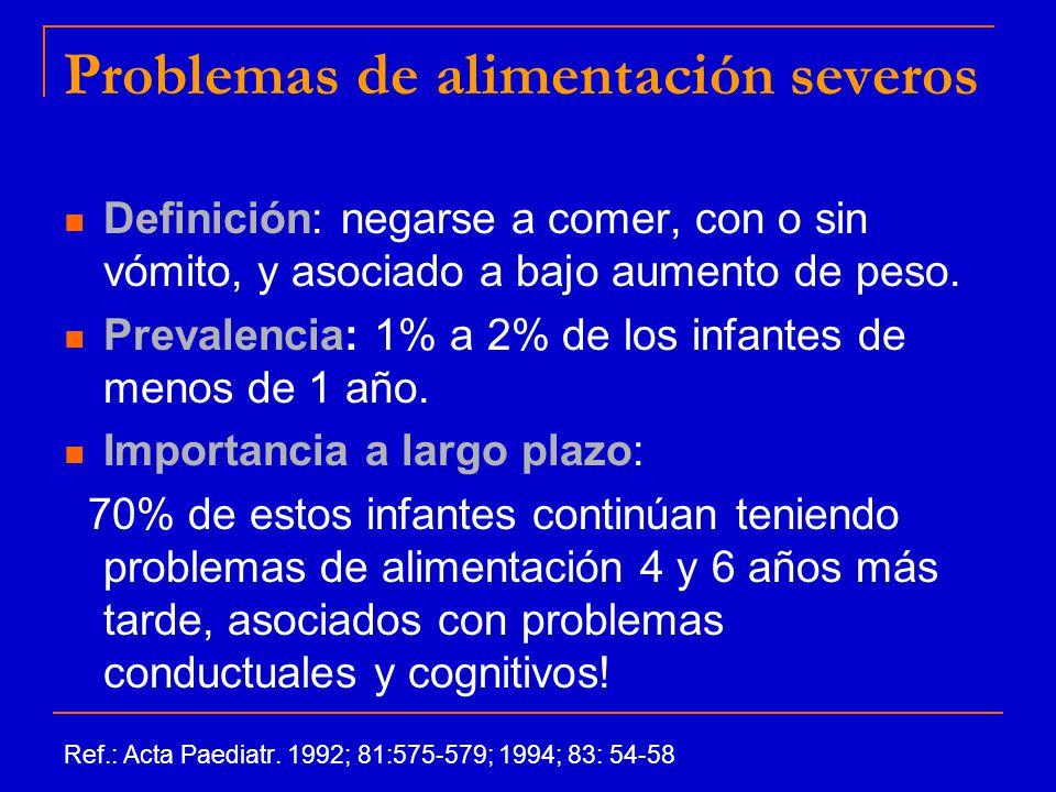 Problemas de alimentación severos Definición: negarse a comer, con o sin vómito, y asociado a bajo aumento de peso.