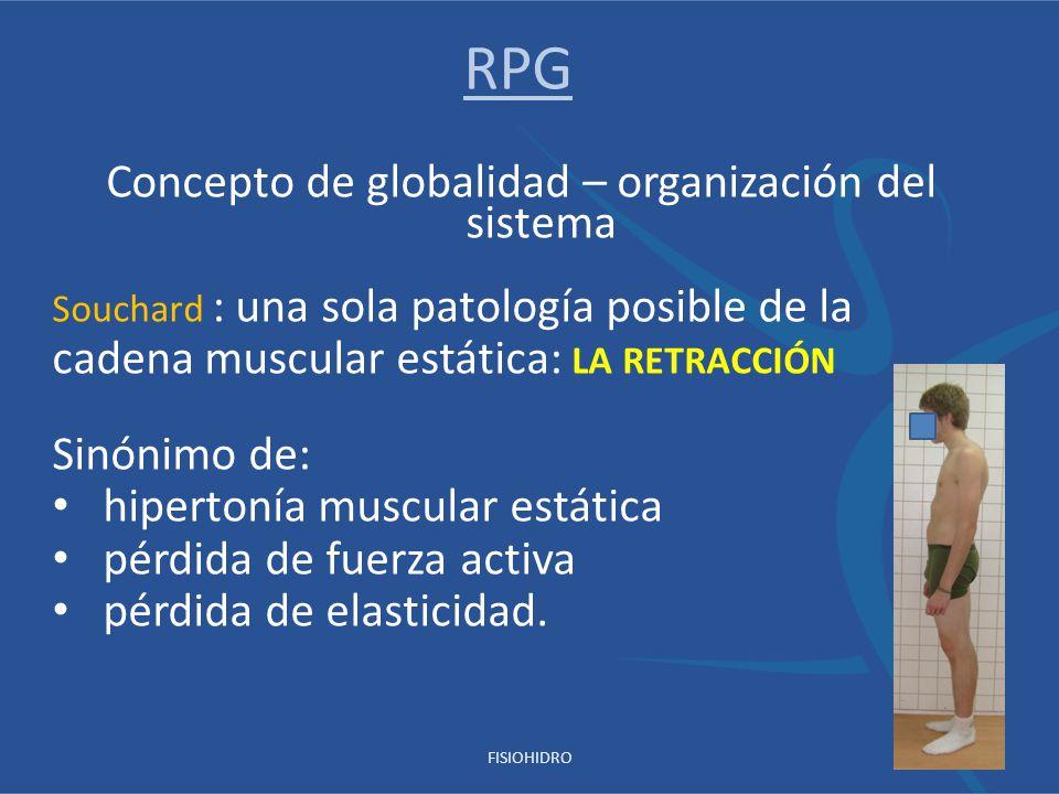 Concepto de globalidad – organización del sistema Souchard : una sola patología posible de la cadena muscular estática: LA RETRACCIÓN Sinónimo de: hip