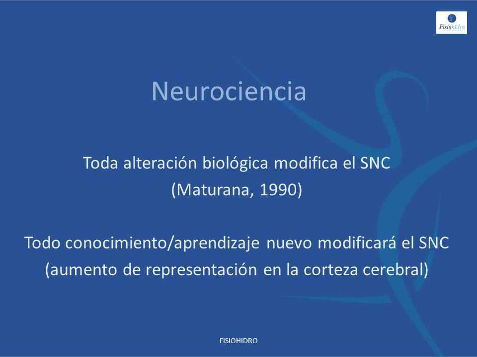 Neurociencia Toda alteración biológica modifica el SNC (Maturana, 1990) Todo conocimiento/aprendizaje nuevo modificará el SNC (aumento de representaci