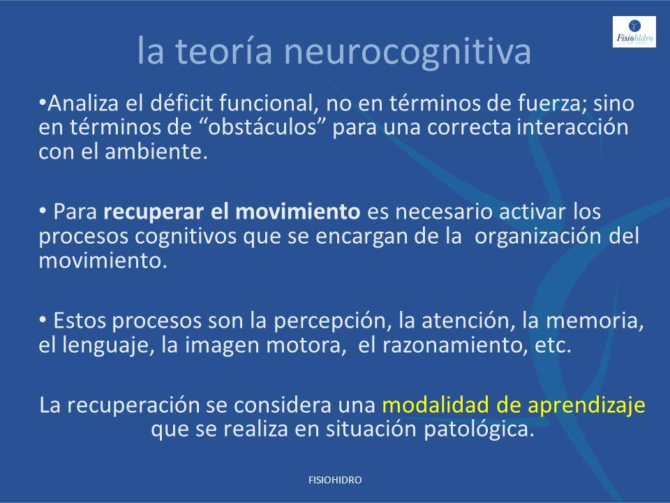 la teoría neurocognitiva Analiza el déficit funcional, no en términos de fuerza; sino en términos de obstáculos para una correcta interacción con el a