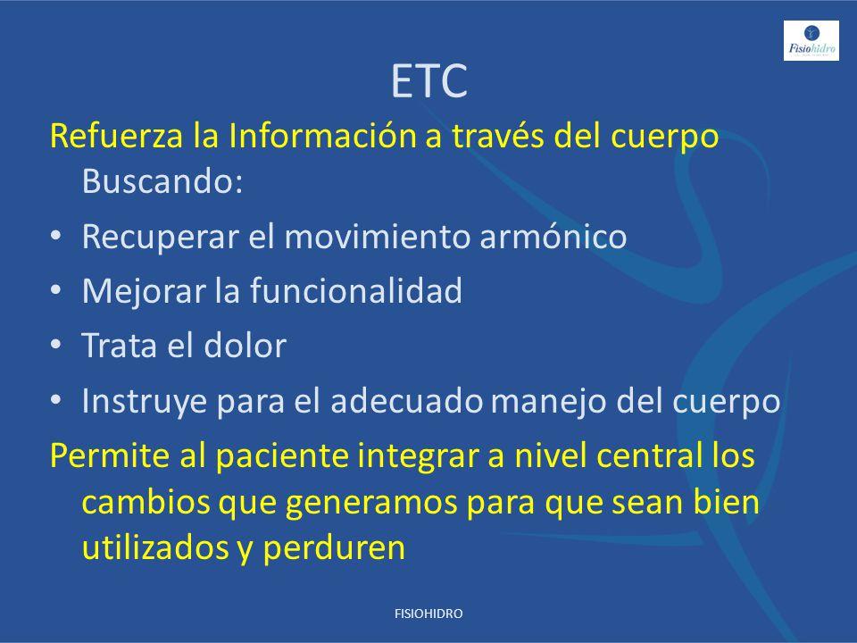 ETC Refuerza la Información a través del cuerpo Buscando: Recuperar el movimiento armónico Mejorar la funcionalidad Trata el dolor Instruye para el ad