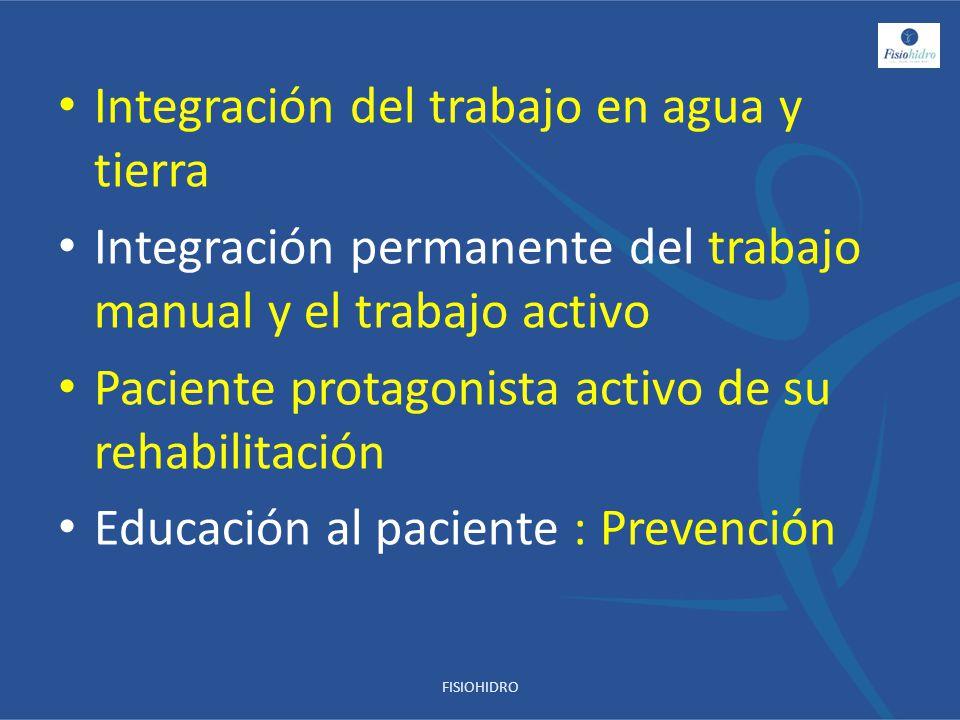 Integración del trabajo en agua y tierra Integración permanente del trabajo manual y el trabajo activo Paciente protagonista activo de su rehabilitaci