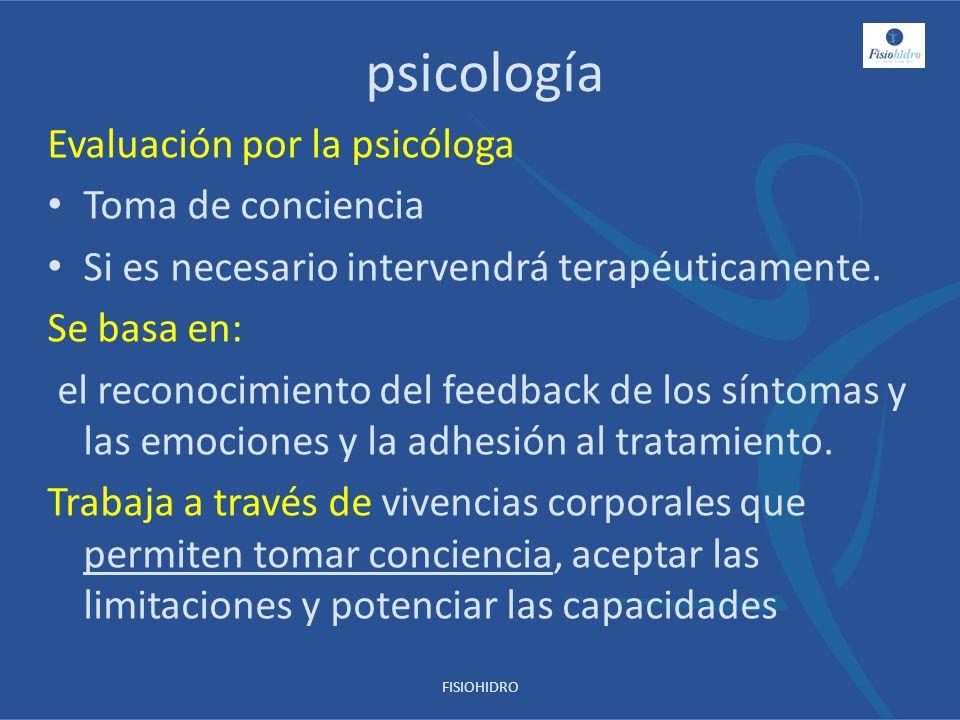 psicología Evaluación por la psicóloga Toma de conciencia Si es necesario intervendrá terapéuticamente. Se basa en: el reconocimiento del feedback de