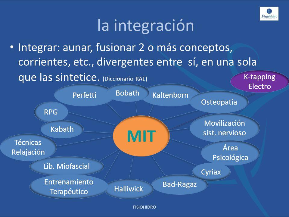 la integración Integrar: aunar, fusionar 2 o más conceptos, corrientes, etc., divergentes entre sí, en una sola que las sintetice. (Diccionario RAE) R