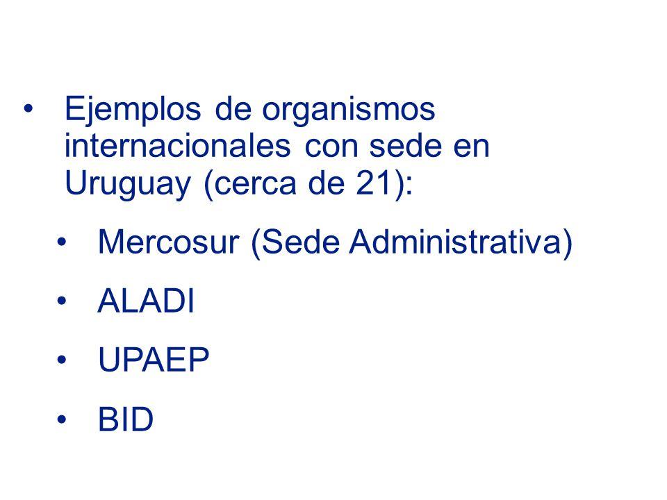 Ejemplos de organismos internacionales con sede en Uruguay (cerca de 21): Mercosur (Sede Administrativa) ALADI UPAEP BID