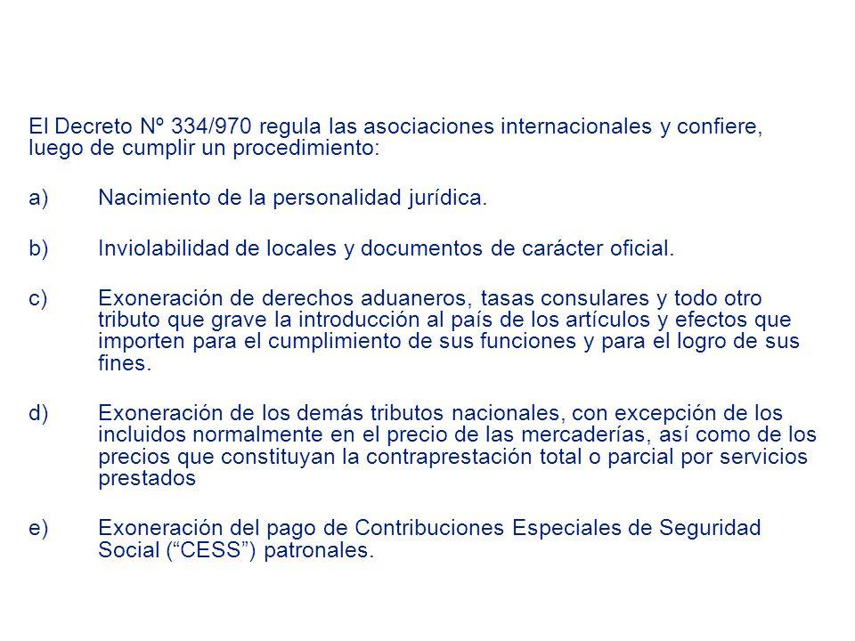 El Decreto Nº 334/970 regula las asociaciones internacionales y confiere, luego de cumplir un procedimiento: a)Nacimiento de la personalidad jurídica.