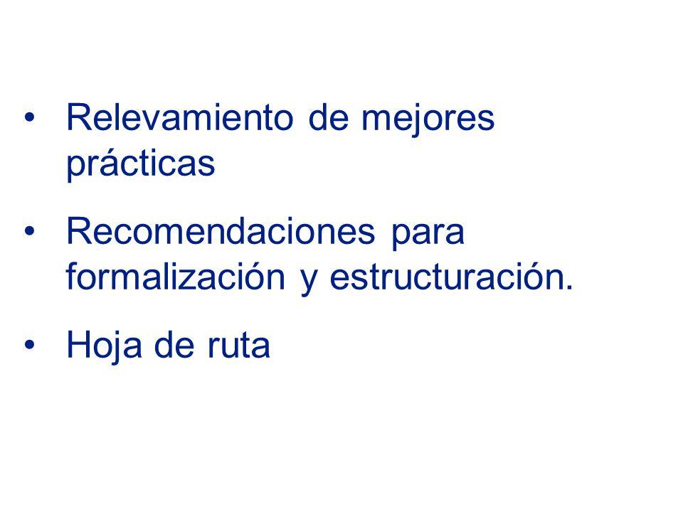 Relevamiento de mejores prácticas Recomendaciones para formalización y estructuración. Hoja de ruta
