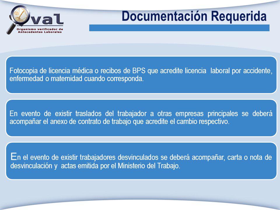 Fotocopia de licencia médica o recibos de BPS que acredite licencia laboral por accidente, enfermedad o maternidad cuando corresponda. En evento de ex