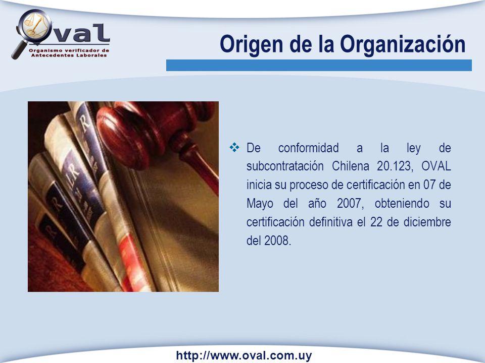 Origen de la Organización De conformidad a la ley de subcontratación Chilena 20.123, OVAL inicia su proceso de certificación en 07 de Mayo del año 200