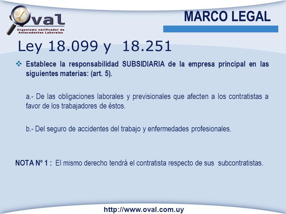 MARCO LEGAL Establece la responsabilidad SUBSIDIARIA de la empresa principal en las siguientes materias: (art. 5). a.- De las obligaciones laborales y