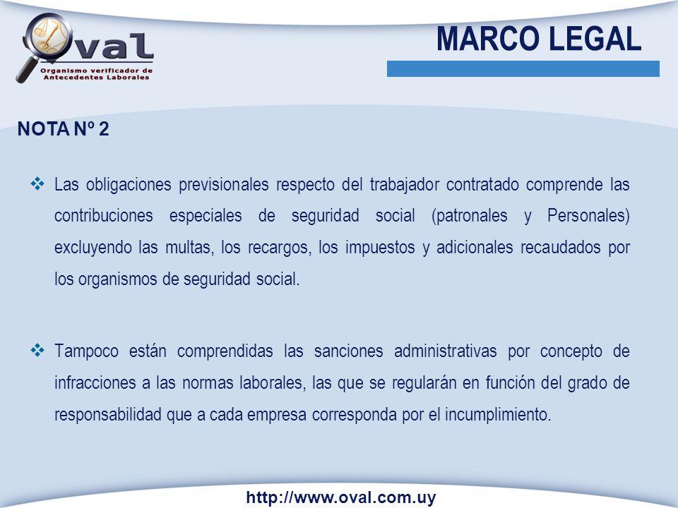 NOTA Nº 2 Las obligaciones previsionales respecto del trabajador contratado comprende las contribuciones especiales de seguridad social (patronales y