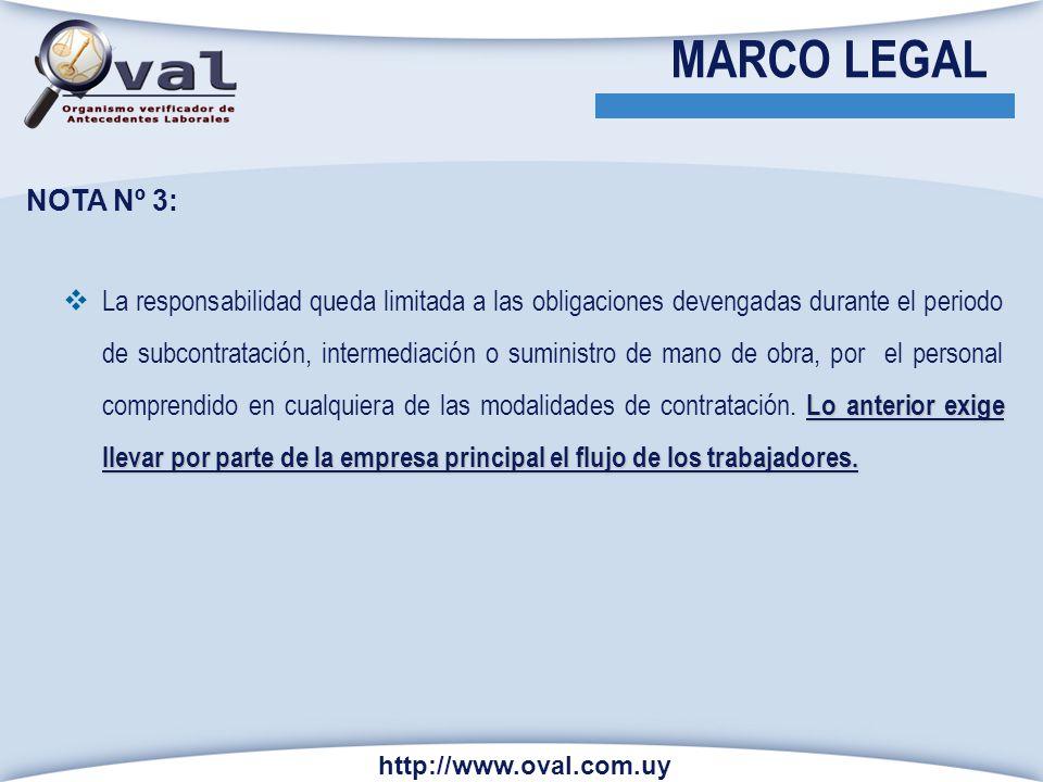http://www.oval.com.uy NOTA N º 4 Si la empresa principal no ejerce el derecho de información será solidariamente responsable del cumplimiento de las obligaciones de la empresa contratista respecto de sus.