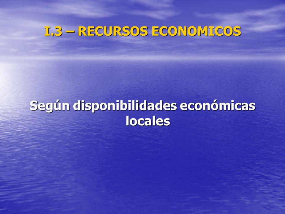 I.3 – RECURSOS ECONOMICOS Según disponibilidades económicas locales