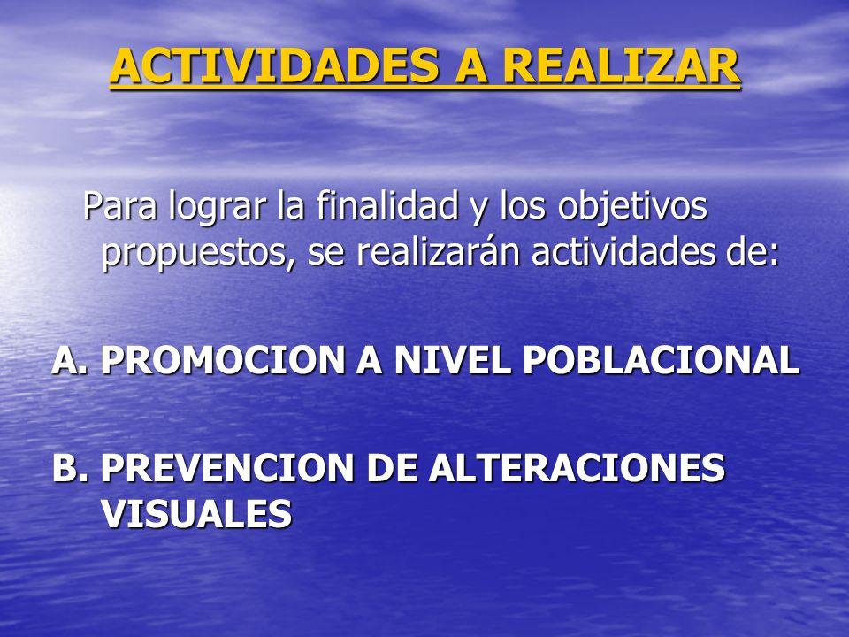 ACTIVIDADES A REALIZAR Para lograr la finalidad y los objetivos propuestos, se realizarán actividades de: Para lograr la finalidad y los objetivos pro