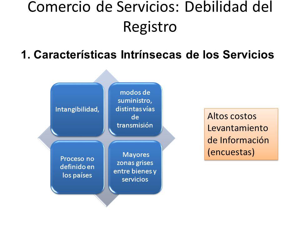 Comercio de Servicios: Debilidad del Registro Intangibilidad, modos de suministro, distintas vías de transmisión Proceso no definido en los países Mayores zonas grises entre bienes y servicios 1.