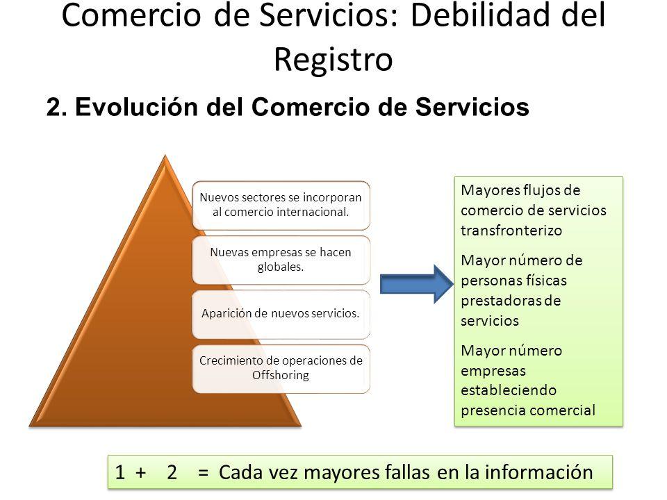 Comercio de Servicios: Debilidad del Registro Nuevos sectores se incorporan al comercio internacional.