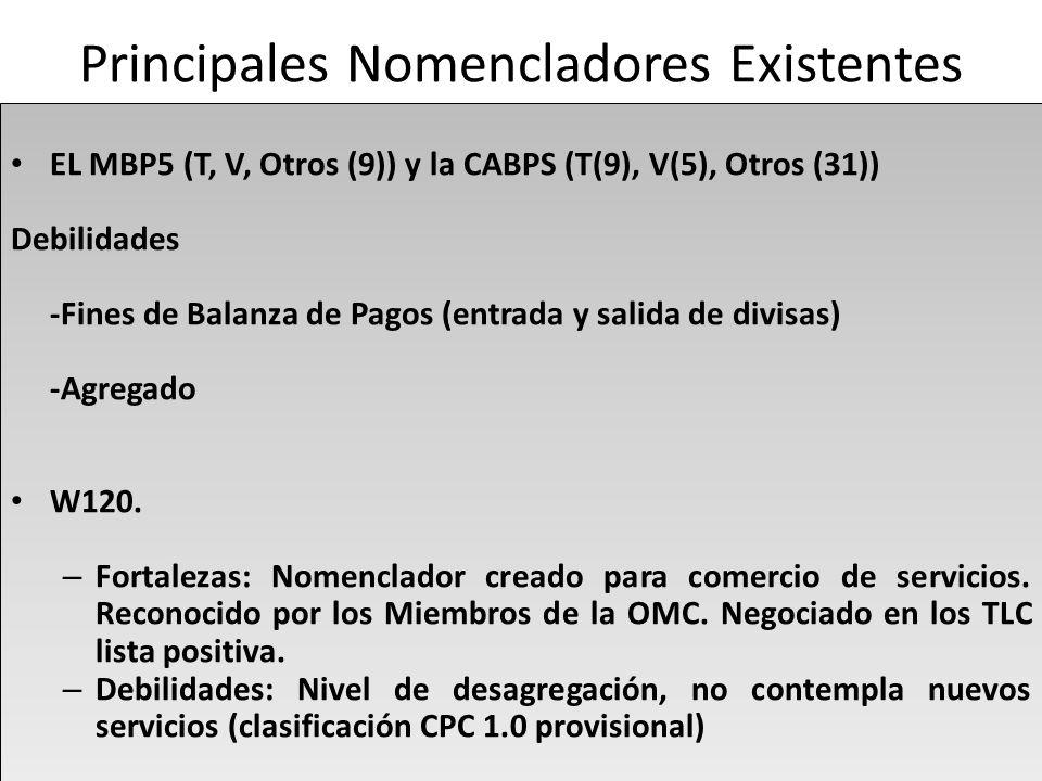 Principales Nomencladores Existentes EL MBP5 (T, V, Otros (9)) y la CABPS (T(9), V(5), Otros (31)) Debilidades -Fines de Balanza de Pagos (entrada y salida de divisas) -Agregado W120.