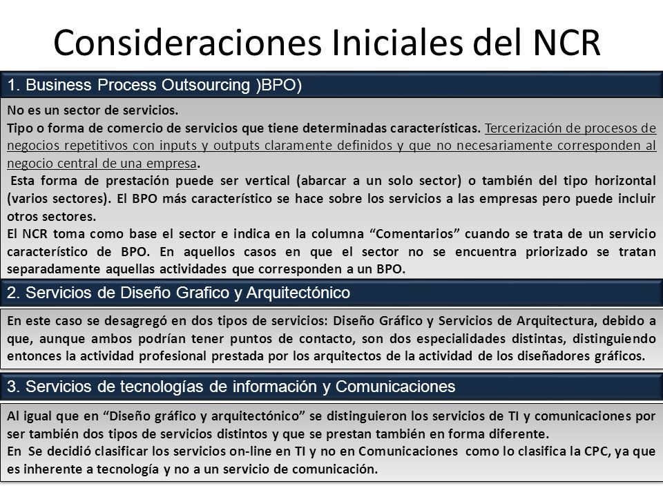 Consideraciones Iniciales del NCR Al igual que en Diseño gráfico y arquitectónico se distinguieron los servicios de TI y comunicaciones por ser también dos tipos de servicios distintos y que se prestan también en forma diferente.