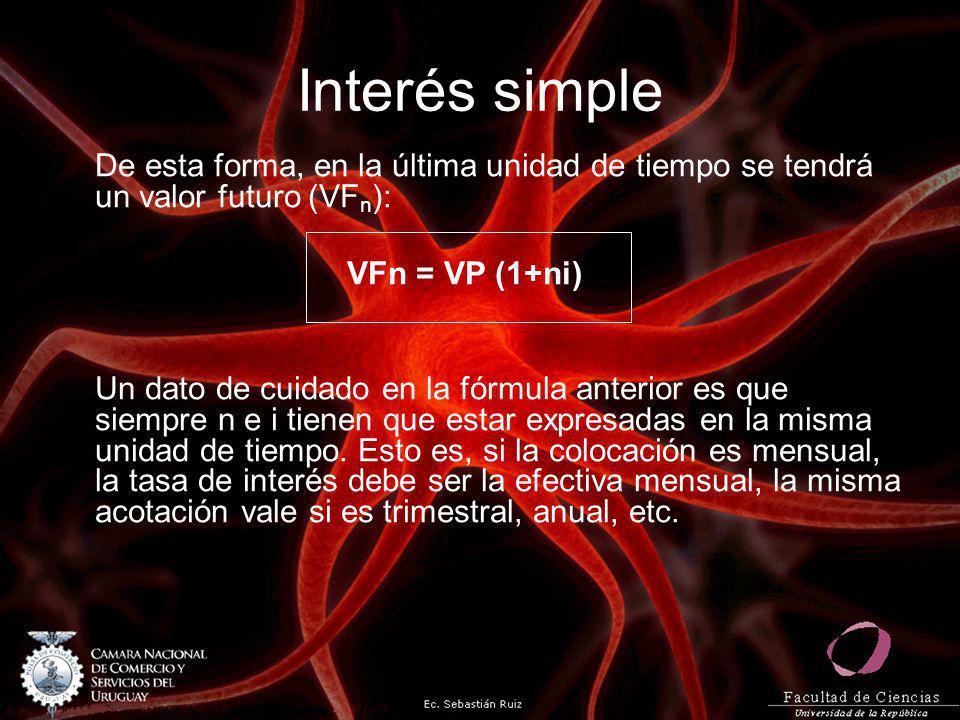 Interés simple De esta forma, en la última unidad de tiempo se tendrá un valor futuro (VF n ): VFn = VP (1+ni) Un dato de cuidado en la fórmula anteri