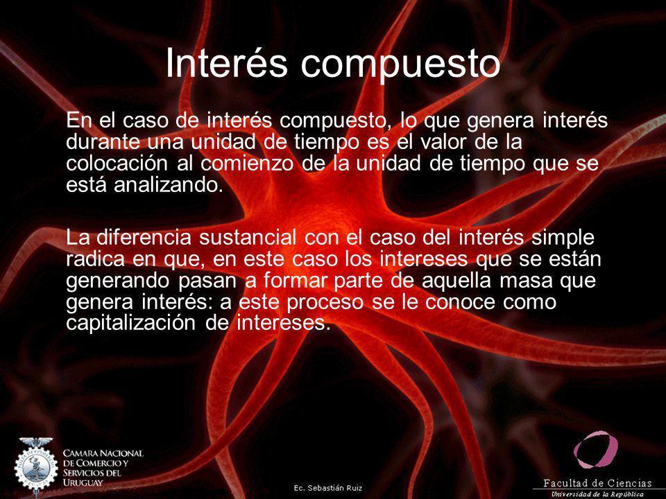 Interés compuesto En el caso de interés compuesto, lo que genera interés durante una unidad de tiempo es el valor de la colocación al comienzo de la u