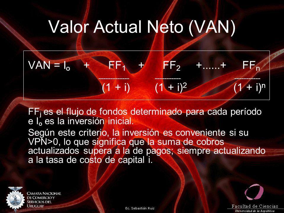 Valor Actual Neto (VAN) VAN = I o + FF 1 + FF 2 +......+ FF n ------------- ----------- ----------- (1 + i) (1 + i) 2 (1 + i) n FF j es el flujo de fo