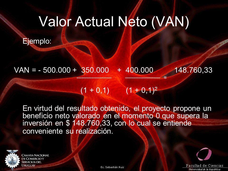 Valor Actual Neto (VAN) Ejemplo: VAN = - 500.000 + 350.000 + 400.000 148.760,33 --------------------- --------------------- = (1 + 0,1) (1 + 0,1) 2 En