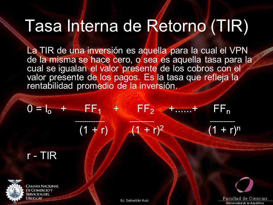 Tasa Interna de Retorno (TIR) La TIR de una inversión es aquella para la cual el VPN de la misma se hace cero, o sea es aquella tasa para la cual se i
