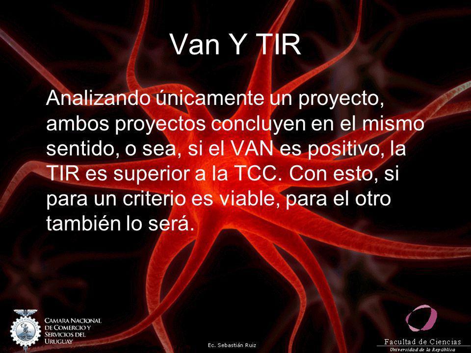 Van Y TIR Analizando únicamente un proyecto, ambos proyectos concluyen en el mismo sentido, o sea, si el VAN es positivo, la TIR es superior a la TCC.