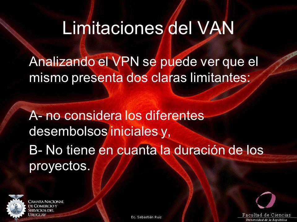 Limitaciones del VAN Analizando el VPN se puede ver que el mismo presenta dos claras limitantes: A- no considera los diferentes desembolsos iniciales