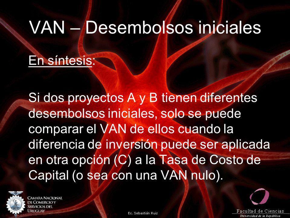 VAN – Desembolsos iniciales En síntesis: Si dos proyectos A y B tienen diferentes desembolsos iniciales, solo se puede comparar el VAN de ellos cuando