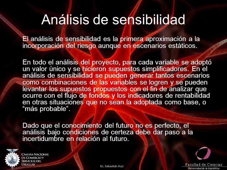 Análisis de sensibilidad El análisis de sensibilidad es la primera aproximación a la incorporación del riesgo aunque en escenarios estáticos. En todo