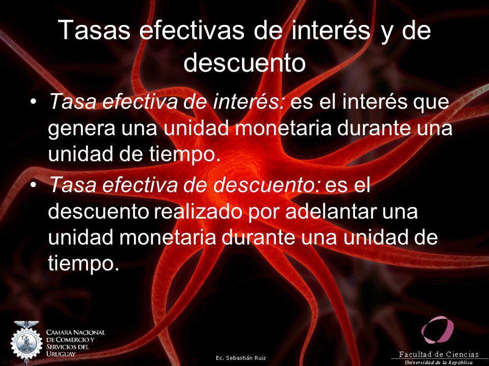 Tasas efectivas de interés y de descuento Tasa efectiva de interés: es el interés que genera una unidad monetaria durante una unidad de tiempo. Tasa e