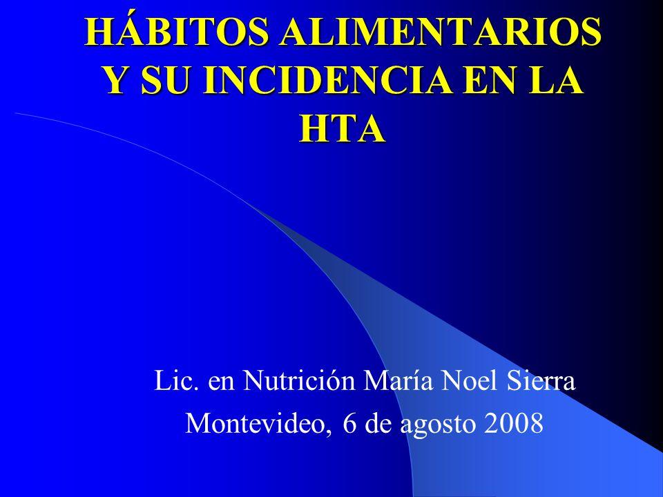 HÁBITOS ALIMENTARIOS Y SU INCIDENCIA EN LA HTA Lic. en Nutrición María Noel Sierra Montevideo, 6 de agosto 2008