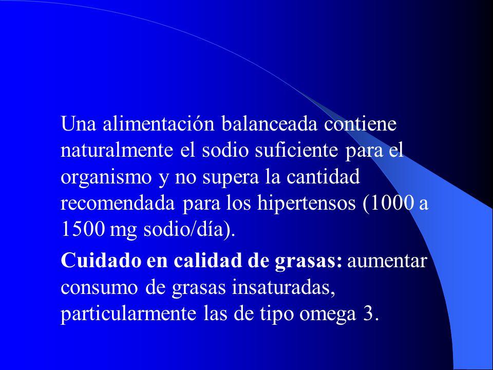 Una alimentación balanceada contiene naturalmente el sodio suficiente para el organismo y no supera la cantidad recomendada para los hipertensos (1000