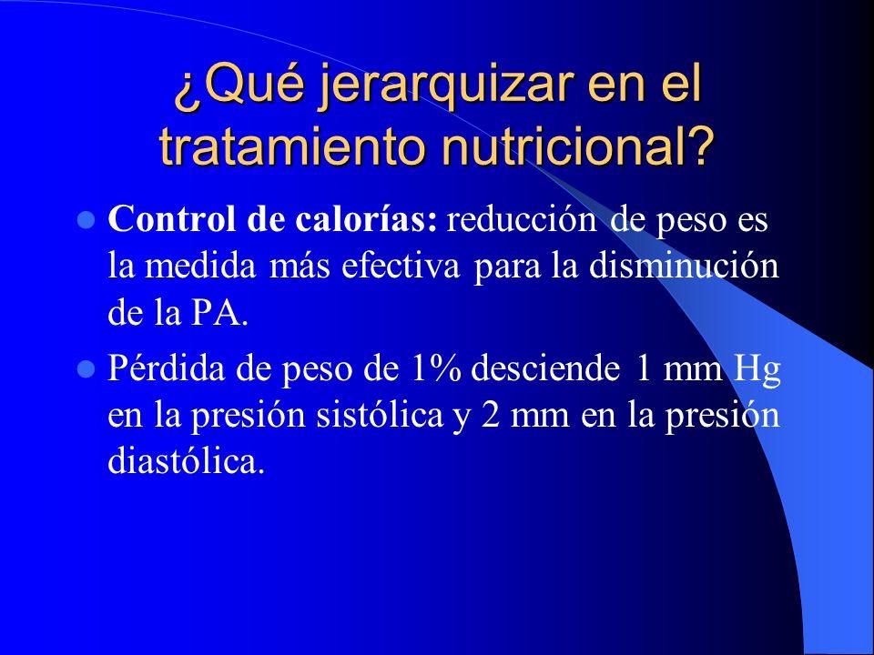 ¿Qué jerarquizar en el tratamiento nutricional? Control de calorías: reducción de peso es la medida más efectiva para la disminución de la PA. Pérdida