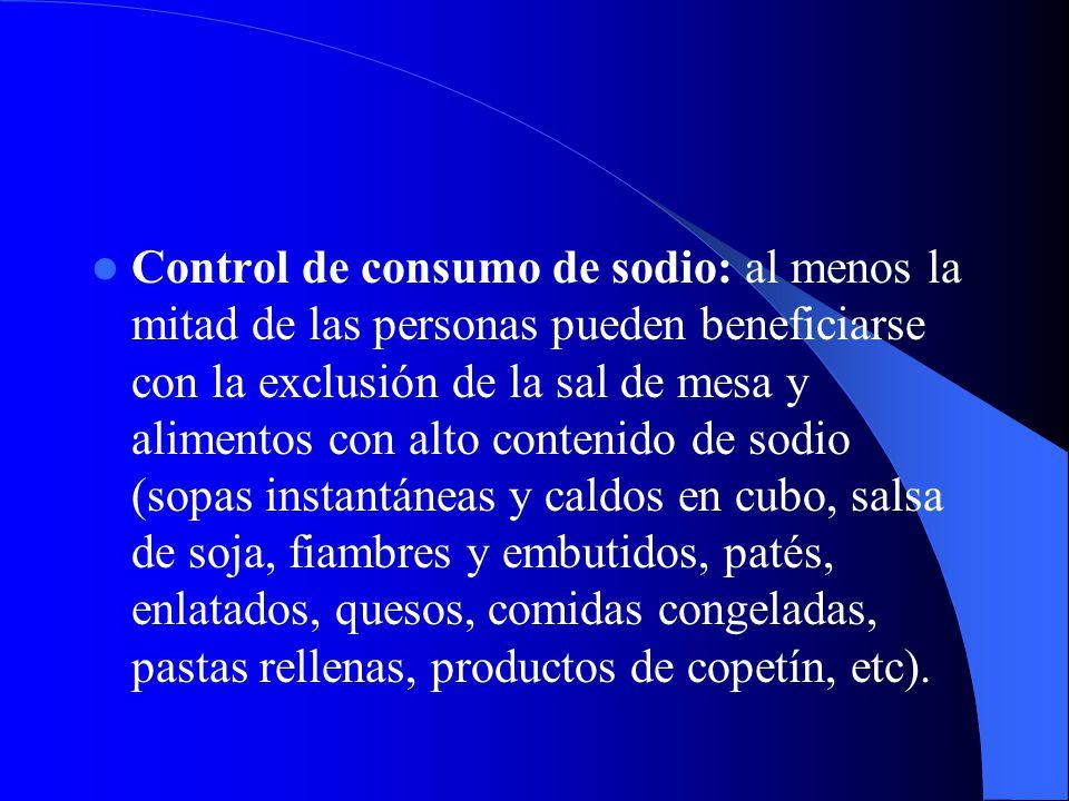 Control de consumo de sodio: al menos la mitad de las personas pueden beneficiarse con la exclusión de la sal de mesa y alimentos con alto contenido d