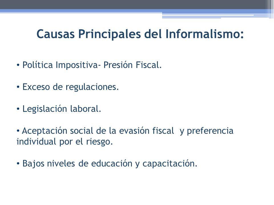 Causas Principales del Informalismo: Política Impositiva- Presión Fiscal. Exceso de regulaciones. Legislación laboral. Aceptación social de la evasión