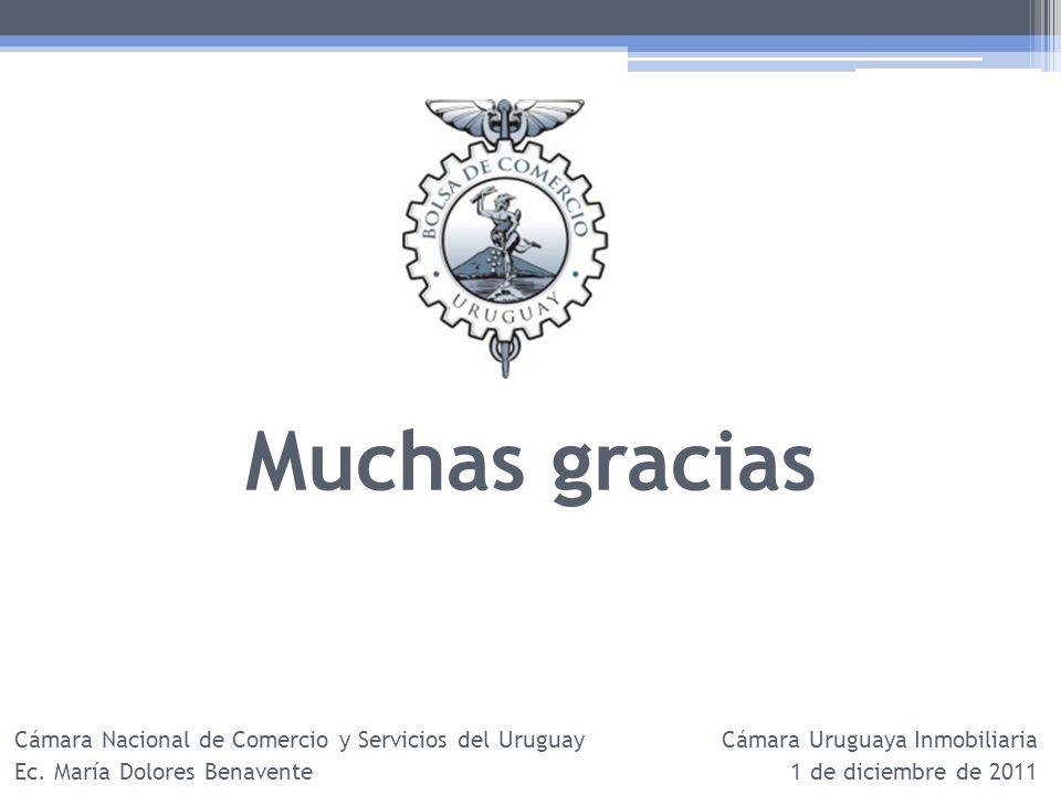 Muchas gracias Cámara Nacional de Comercio y Servicios del Uruguay Ec. María Dolores Benavente Cámara Uruguaya Inmobiliaria 1 de diciembre de 2011