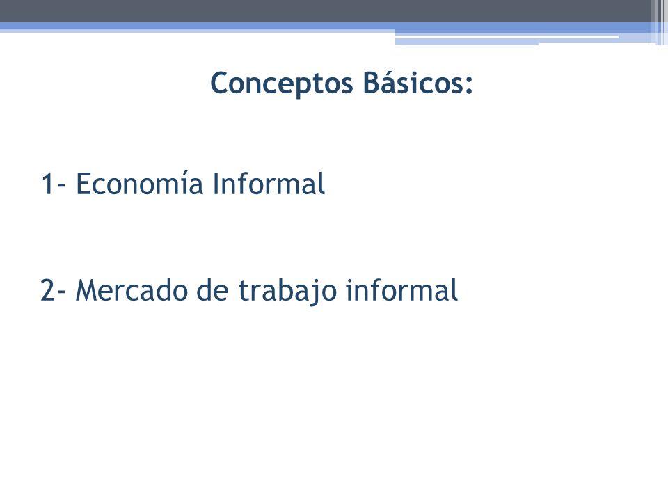 Conceptos Básicos: 1- Economía Informal 2- Mercado de trabajo informal