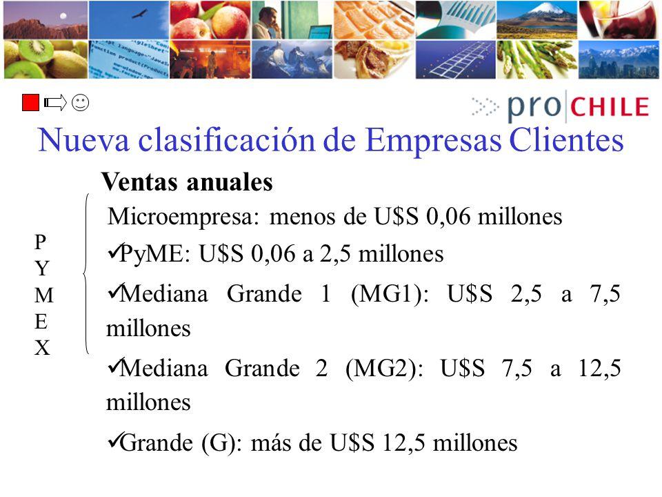 Microempresa: menos de U$S 0,06 millones PyME: U$S 0,06 a 2,5 millones Mediana Grande 1 (MG1): U$S 2,5 a 7,5 millones Mediana Grande 2 (MG2): U$S 7,5