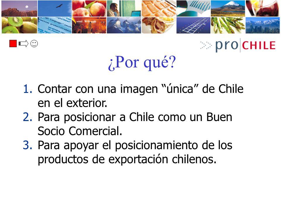 ¿Por qué? 1.Contar con una imagen única de Chile en el exterior. 2.Para posicionar a Chile como un Buen Socio Comercial. 3.Para apoyar el posicionamie