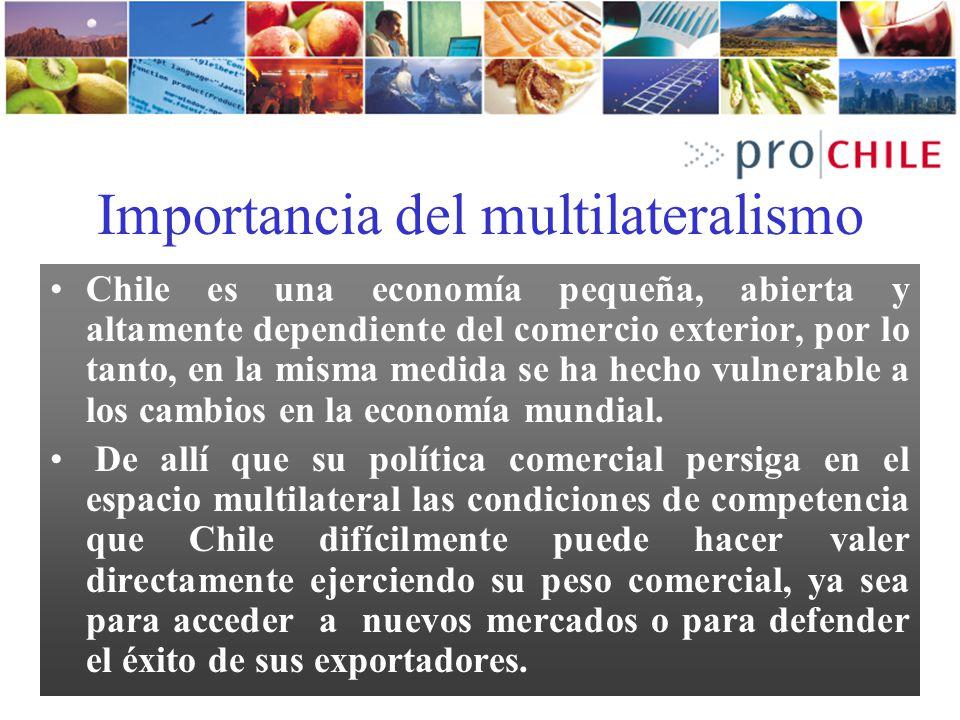 Importancia del multilateralismo Chile es una economía pequeña, abierta y altamente dependiente del comercio exterior, por lo tanto, en la misma medid