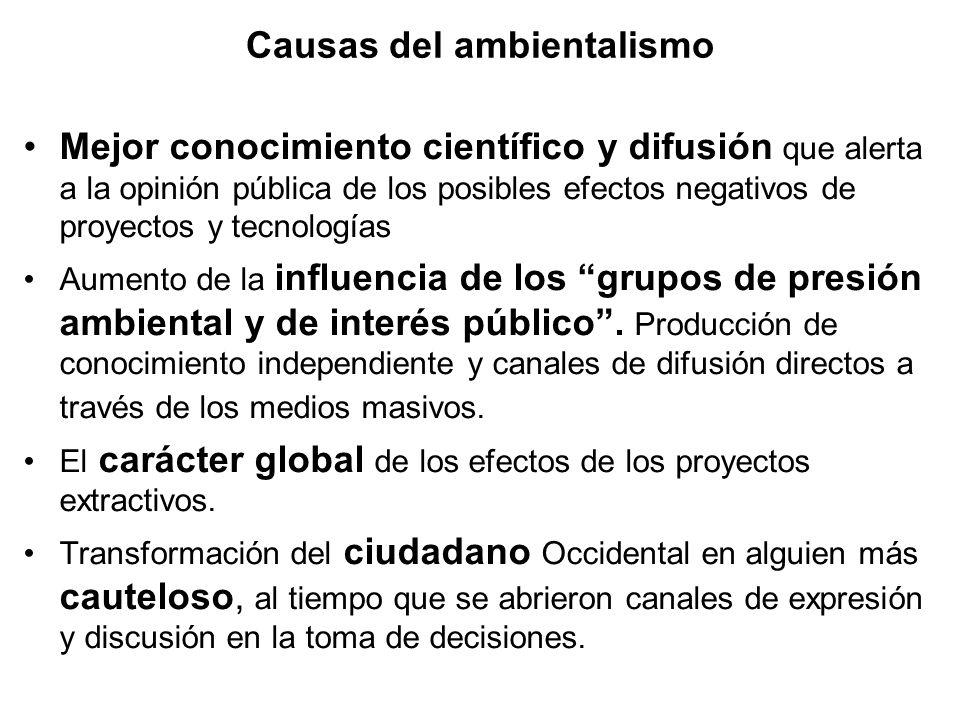 Causas del ambientalismo Mejor conocimiento científico y difusión que alerta a la opinión pública de los posibles efectos negativos de proyectos y tecnologías Aumento de la influencia de los grupos de presión ambiental y de interés público.