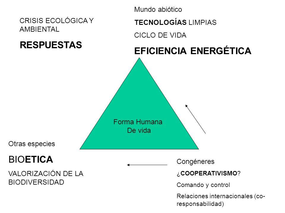 Forma Humana De vida Mundo abiótico TECNOLOGÍAS LIMPIAS CICLO DE VIDA EFICIENCIA ENERGÉTICA Congéneres ¿COOPERATIVISMO.