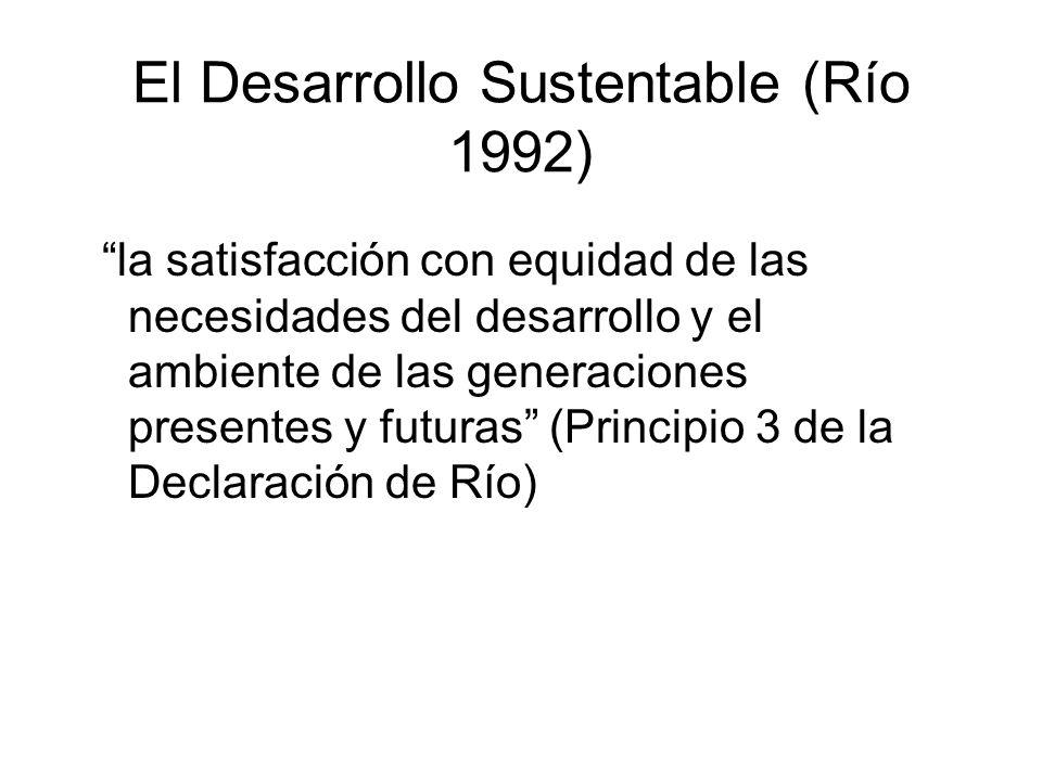 El Desarrollo Sustentable (Río 1992) la satisfacción con equidad de las necesidades del desarrollo y el ambiente de las generaciones presentes y futuras (Principio 3 de la Declaración de Río)