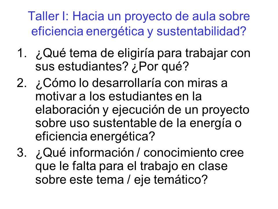 Taller I: Hacia un proyecto de aula sobre eficiencia energética y sustentabilidad.