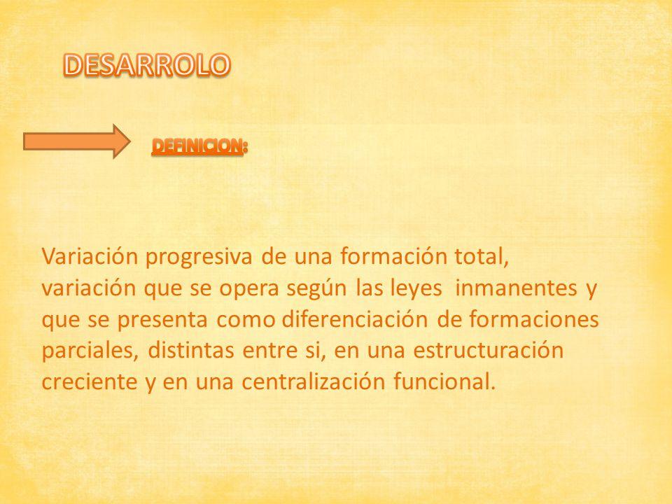 Variación progresiva de una formación total, variación que se opera según las leyes inmanentes y que se presenta como diferenciación de formaciones pa