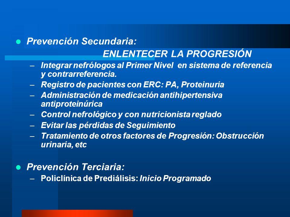 PROGRAMA DE SALUD RENAL: Mejorar las condiciones de salud renal de la población Niveles de Prevención 1. Prevención Primaria Difusión a la población d