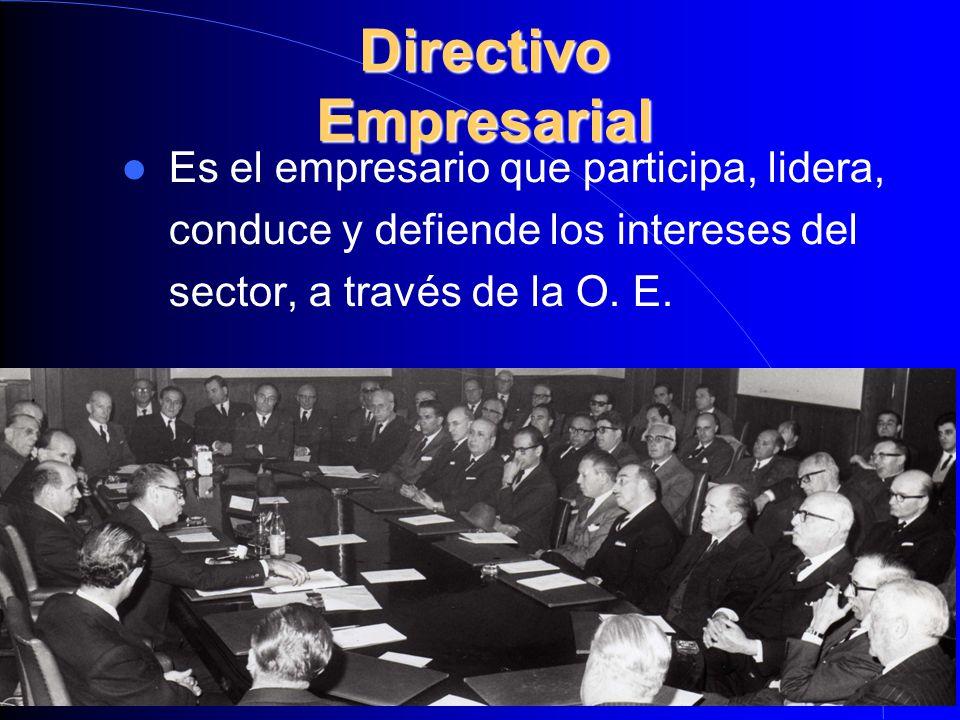 Directivo Empresarial Es el empresario que participa, lidera, conduce y defiende los intereses del sector, a través de la O. E.