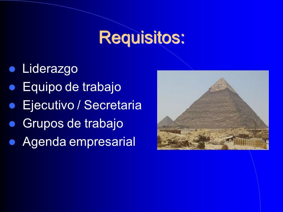 Requisitos: Liderazgo Equipo de trabajo Ejecutivo / Secretaria Grupos de trabajo Agenda empresarial